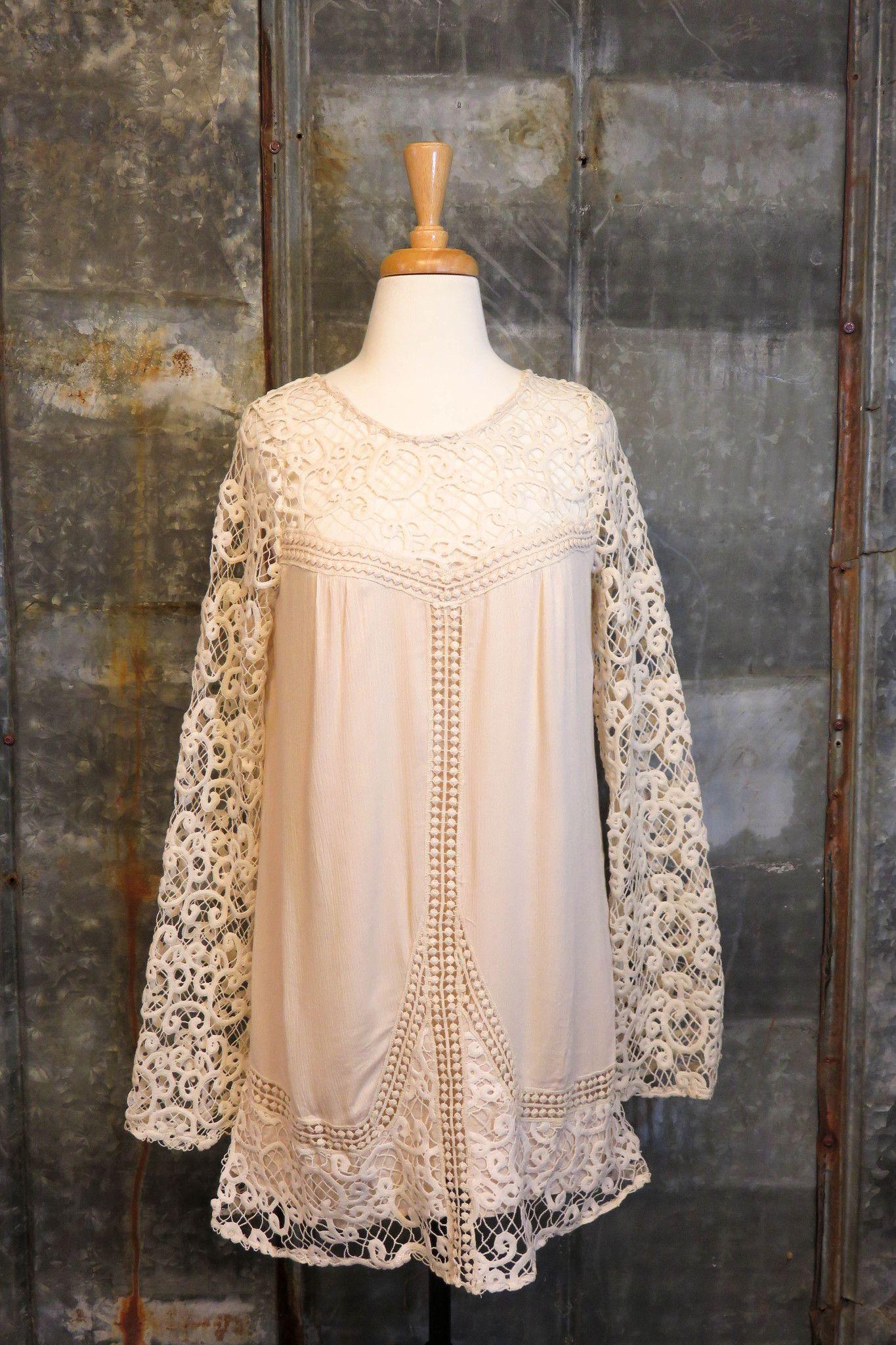 cream crotchet dress