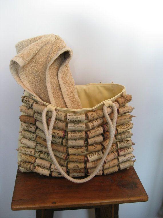 Wine Cork Sunbrella Tote, Handbag, Purse, Beach Bag | Cork, Wine ...