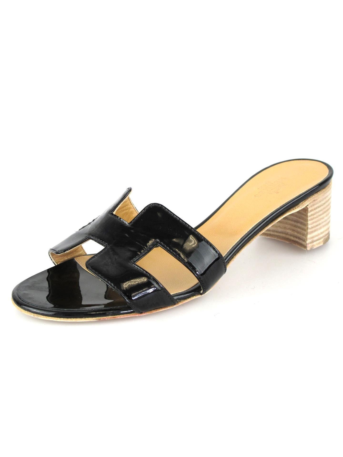 1bd7b5078fc6 HERMES Oasis H Oran Black Patent Leather Sandal   SHOP SOCIALITE ...