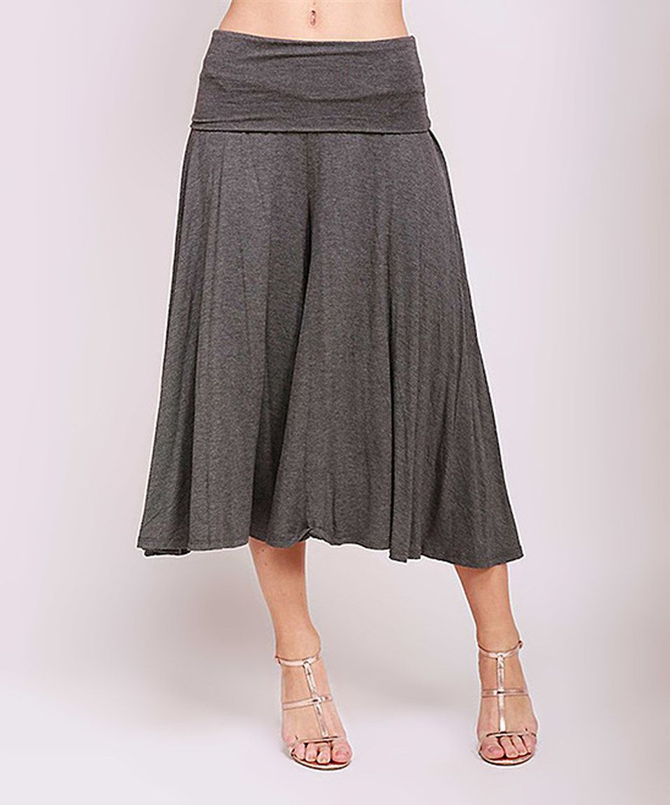 This 42POPS Charcoal Fold-Over Gaucho Pants by 42POPS is perfect! #zulilyfinds