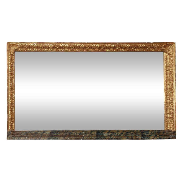 Large Horizontal Giltwood and Faux Marble Mirror | See more antique and modern Mantel Mirrors and Fireplace Mirrors at http://www.1stdibs.com/furniture/mirrors/mantel-mirrors-fireplace-mirrors