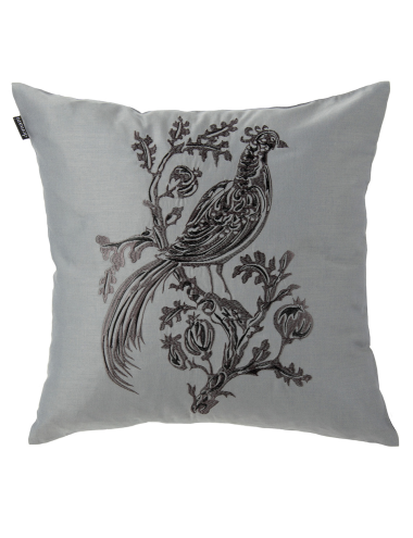 Intricate detail is captured in this embroidered cushion by Domani.