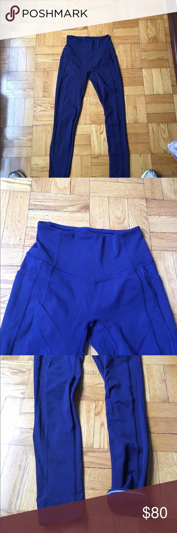 Lululemon sz 4 navy leggings. Worn once. Lululemon sz 4 navy leggings. Worn once. Too small for me. lululemon athletica Pants Leggings