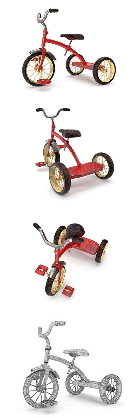 Realistic Old Tricycle Fully customizable 3D model of bicycle