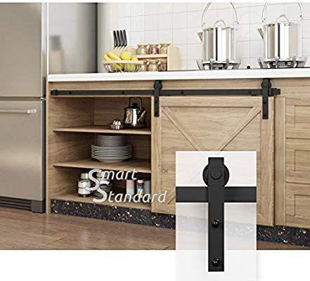 Mini Sliding Barn Door Hardware for Cabinet TV Stand kit Mini J Shape Hanger