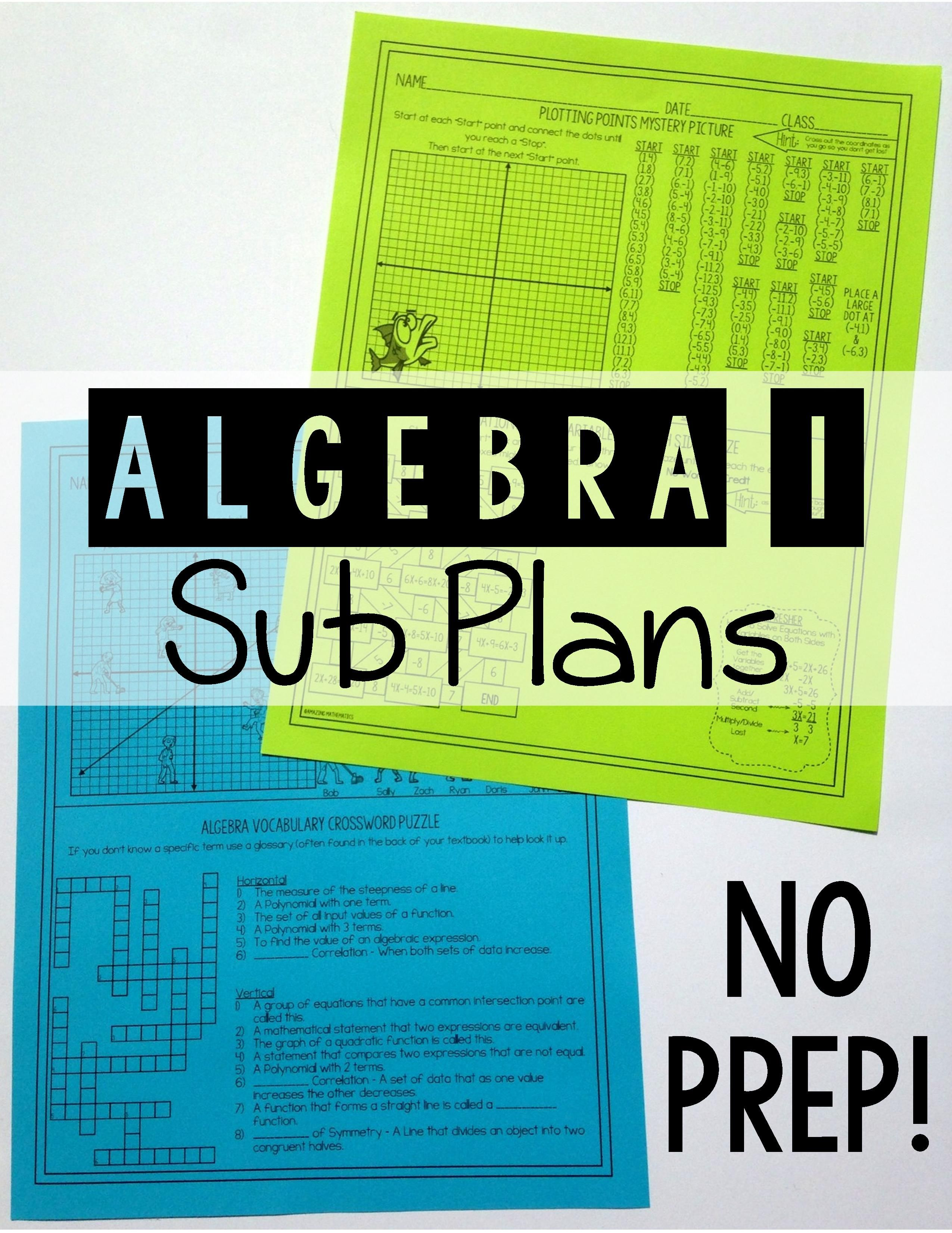 Algebra 1 No Prep Sub Lesson | educational | Pinterest | Substitute ...
