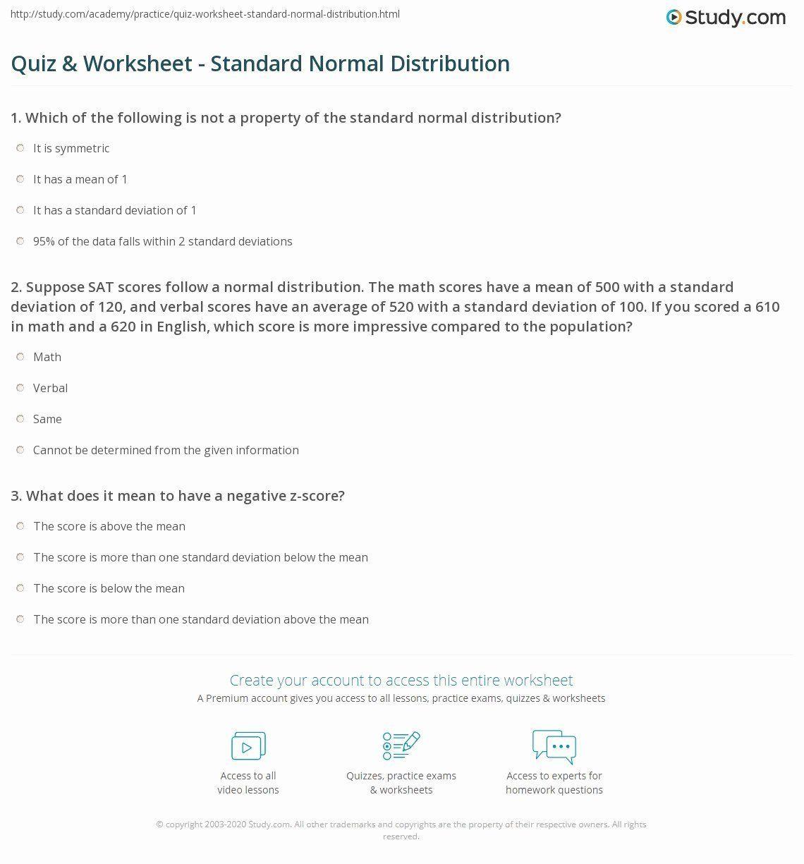 Z Score Practice Worksheet Beautiful Quiz Worksheet Standard Normal Distribution In 2020 Practices Worksheets Worksheets Normal Distribution