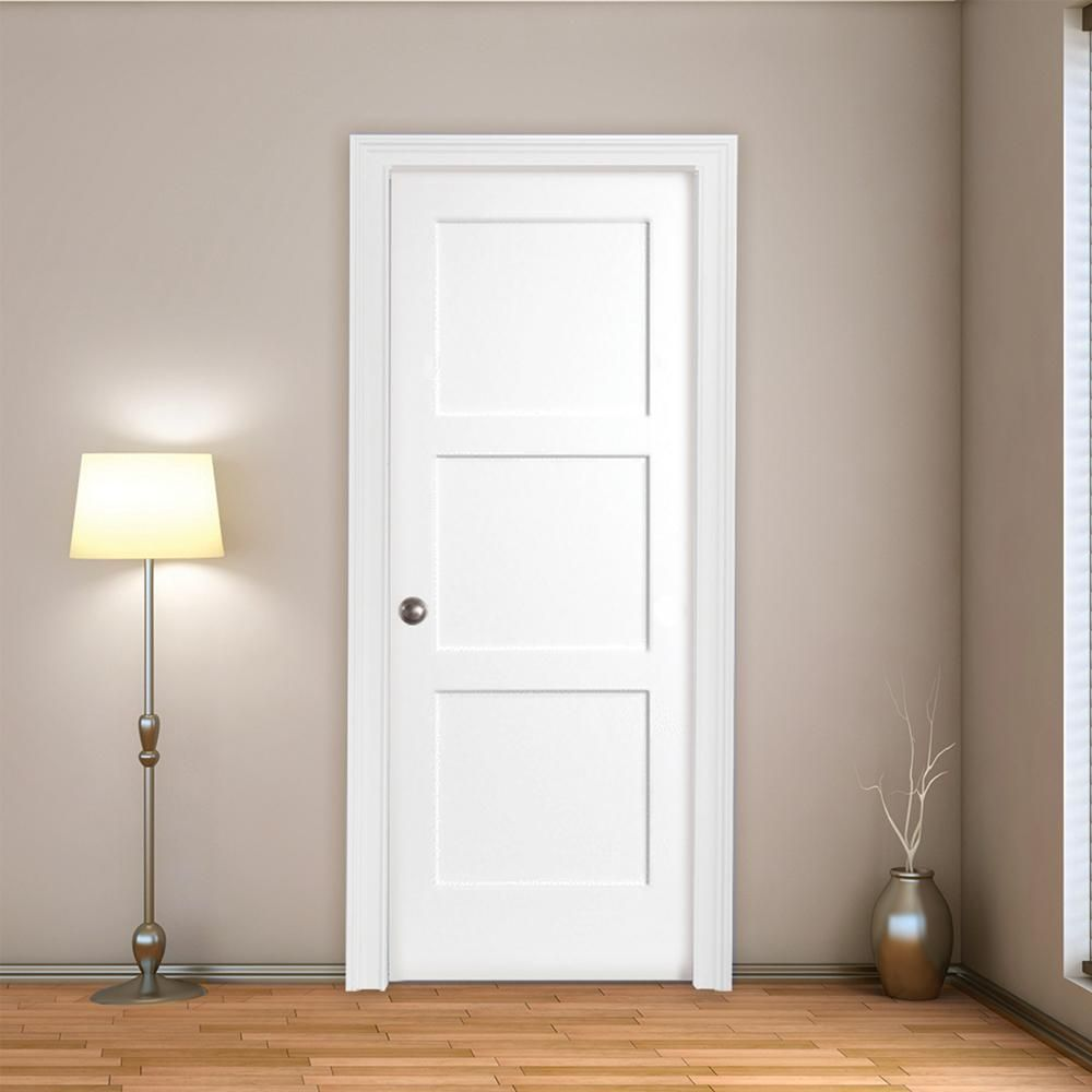 Steves Sons 30 In X 80 In 3 Panel Equal Shaker White Primed Rh Solid Core Wood Single Prehung Interior Door With Nickel Hinges M64m3nnnlerhn The Home Depo Prehung Interior Doors