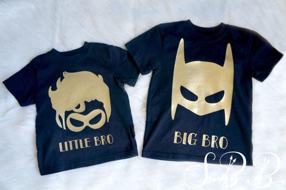 40b4468dc BATMAN AND ROBIN | Big Bro, little bro | Shirt set | batman Big brother  shirt | Robin little brother shirt | boys superhero shirt | batman