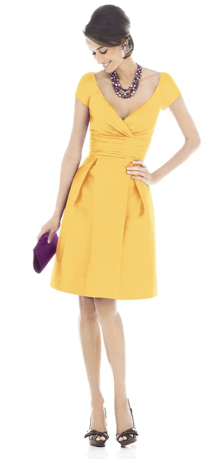 Lots of pretty yellow vintage inspired bridesmaid dresses on this