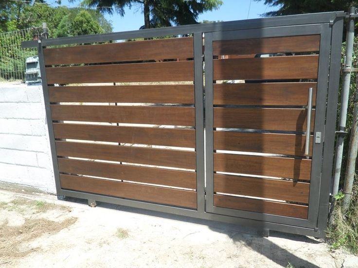 Resultado de imagen para portones corredizos cerrados con for Puertas de madera con herreria