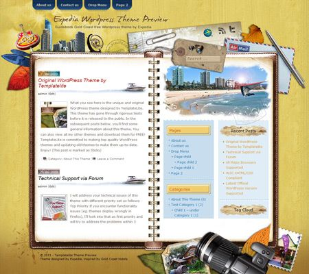 Guidebook Gold Coast Wordpress Theme I like the notebook style