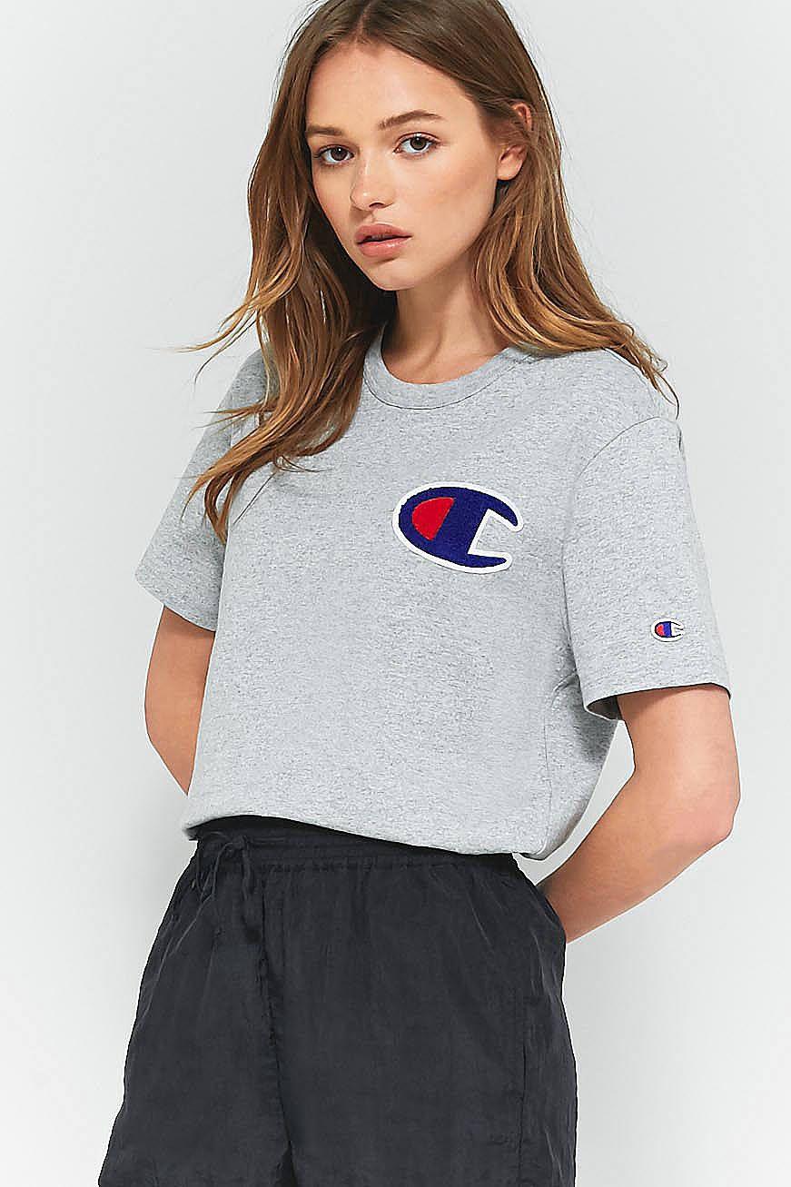 5dbfb7b4e0e Slide View  1  Champion Grey Large Logo T-Shirt