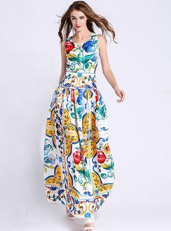 Ethnic Multicolor Print O-neck Sleeveless Maxi Dress