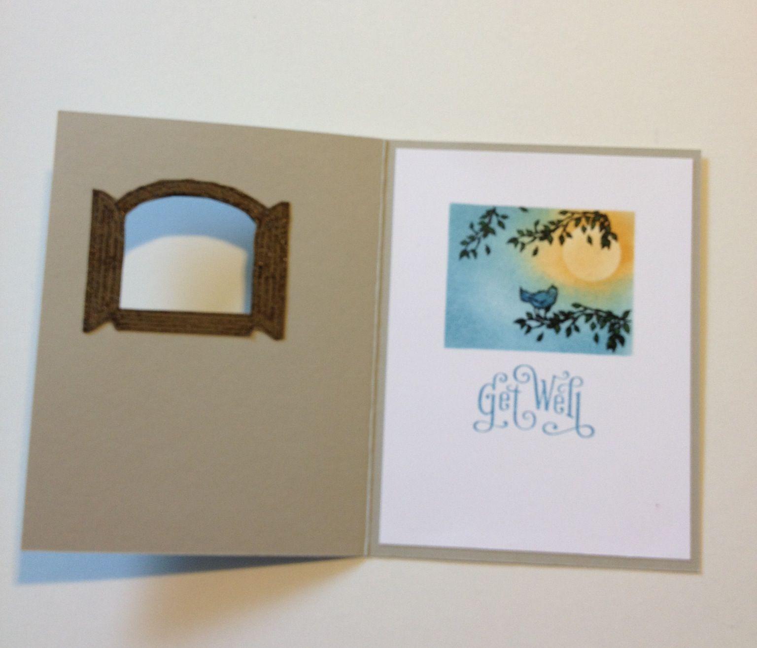 Cottage Window Stamp Set Inside Card. Card Design Inspired