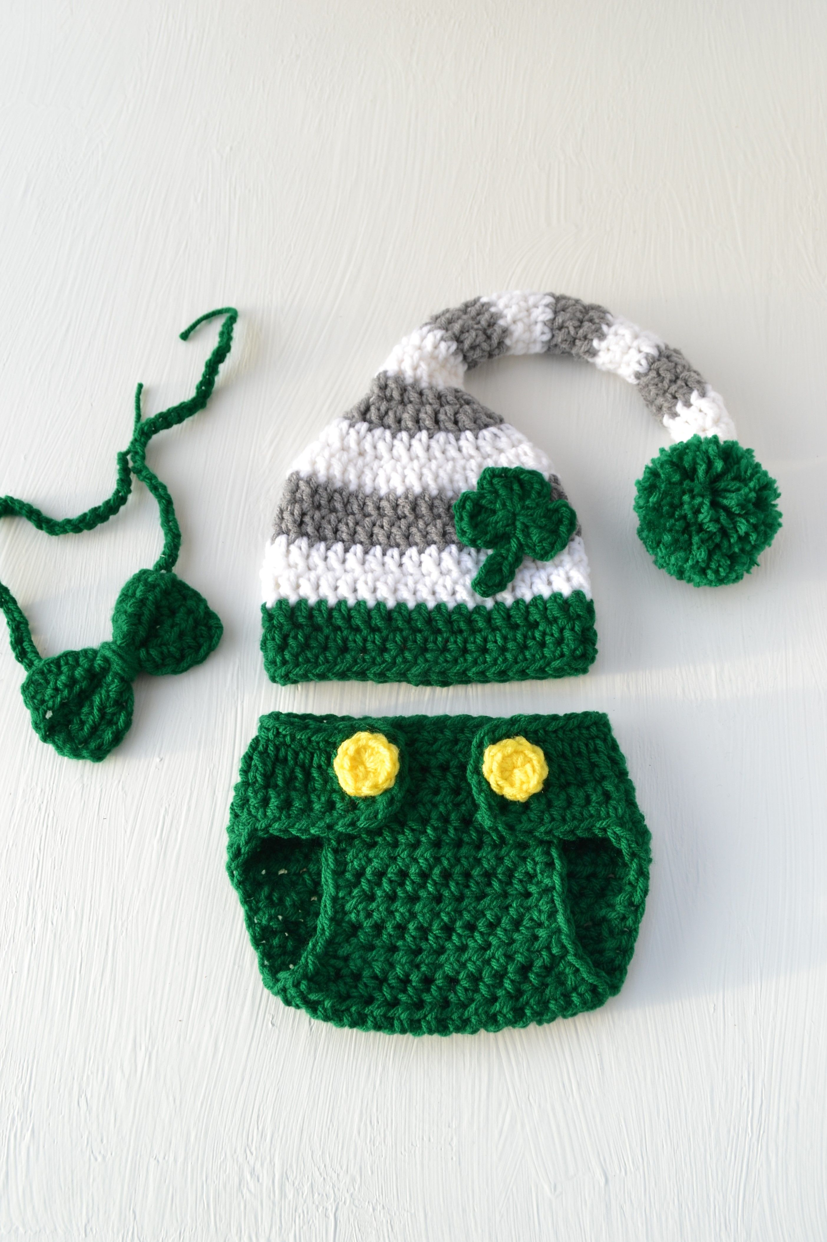 Shop for St. Patrick s Day baby outfit at my  etsy shop  Crochet St.  Patrick s Day Leprechaun Hat Bow Tie Green Newborn Baby Photography Prop  Newborn Photo ... d655c2527bff
