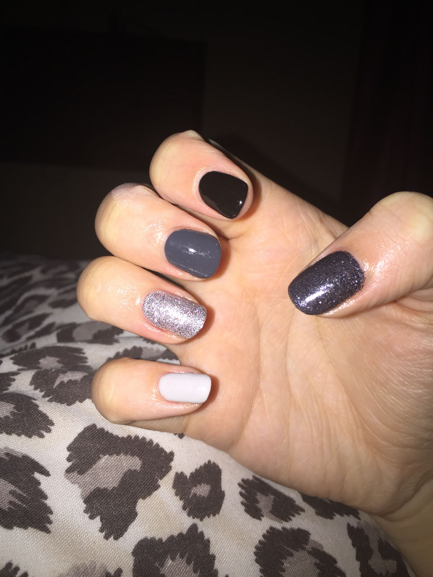 Light to dark grey nail design created by Shellac CND with grey and ...