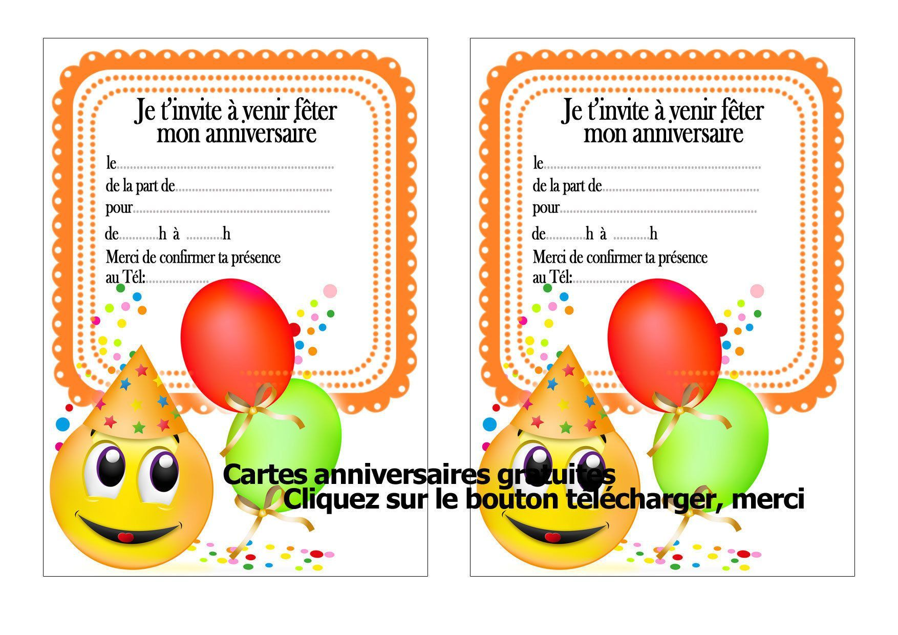 carte invitation anniversaire   carte invitation anniversaire gratuite