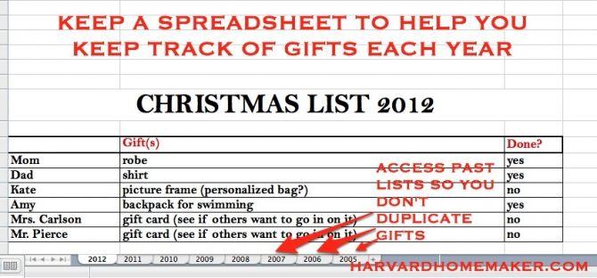 Christmas Spreadsheet to Keep Track of Gifts { Home for Christmas