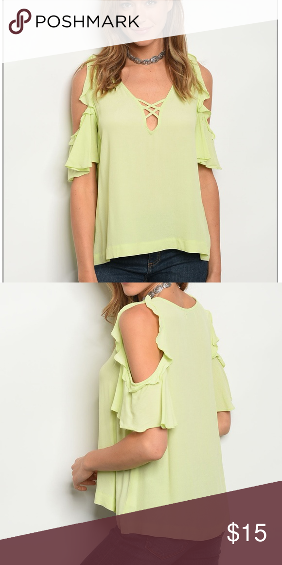 fdb7d198e2f0e   FINAL MARKDOWN   Lime green cold shoulder blouse Super cute! Awesome  detail! SFW18-675 Tops Blouses