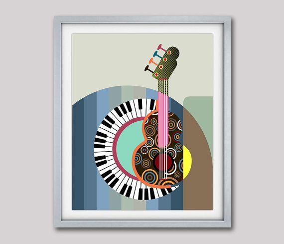 impresin del arte piano regalo regalo maestro resumen piano guitarra pintura del arte pop