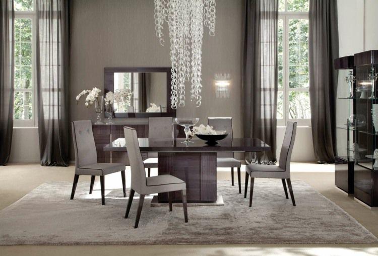 Salle à manger moderne et sombre u2013 50 idées élégantes à emprunter - table de salle a manger grise