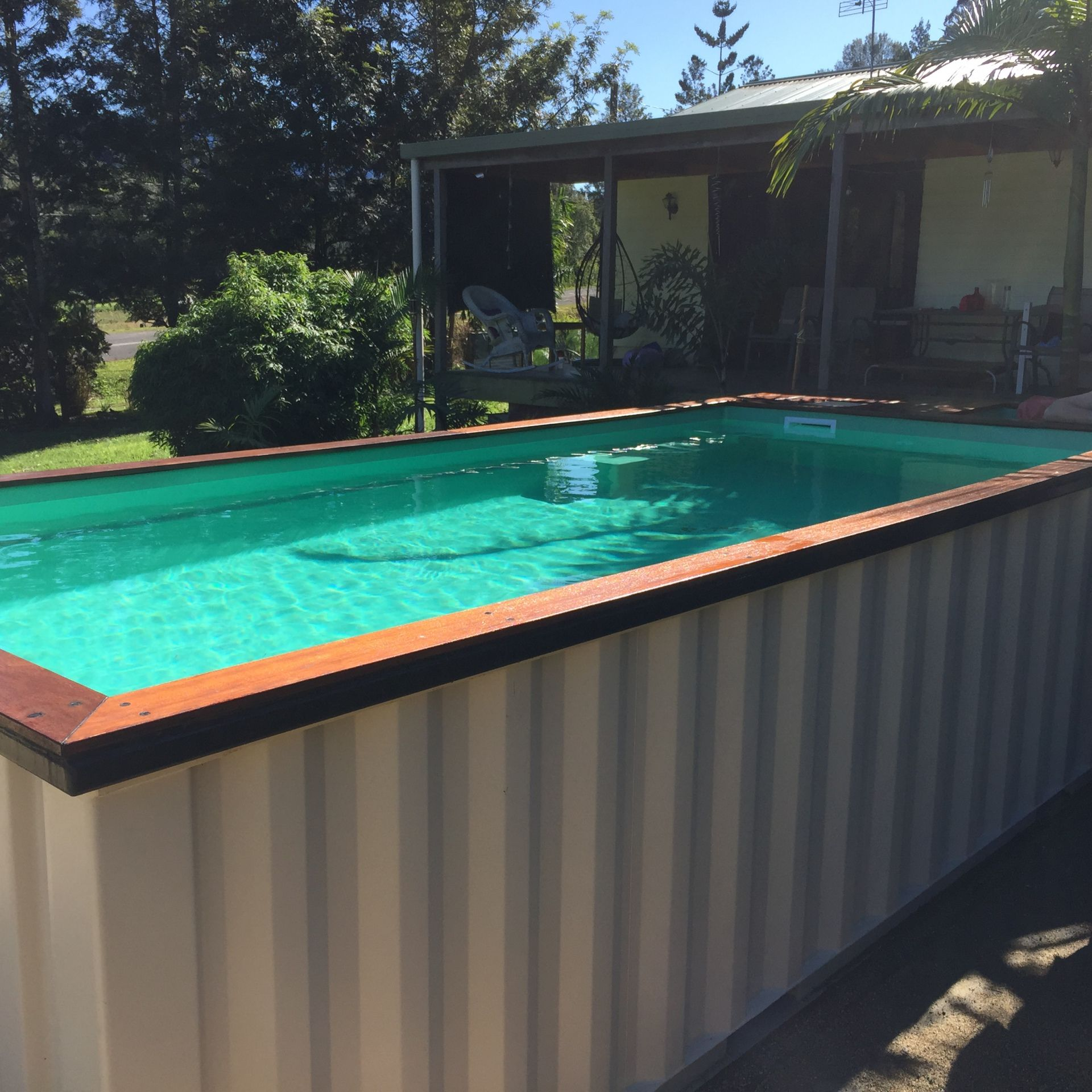Above Ground Pool Made From A Recycled Shipping Container With Fiber Glass Interior And Solid Timber Trims