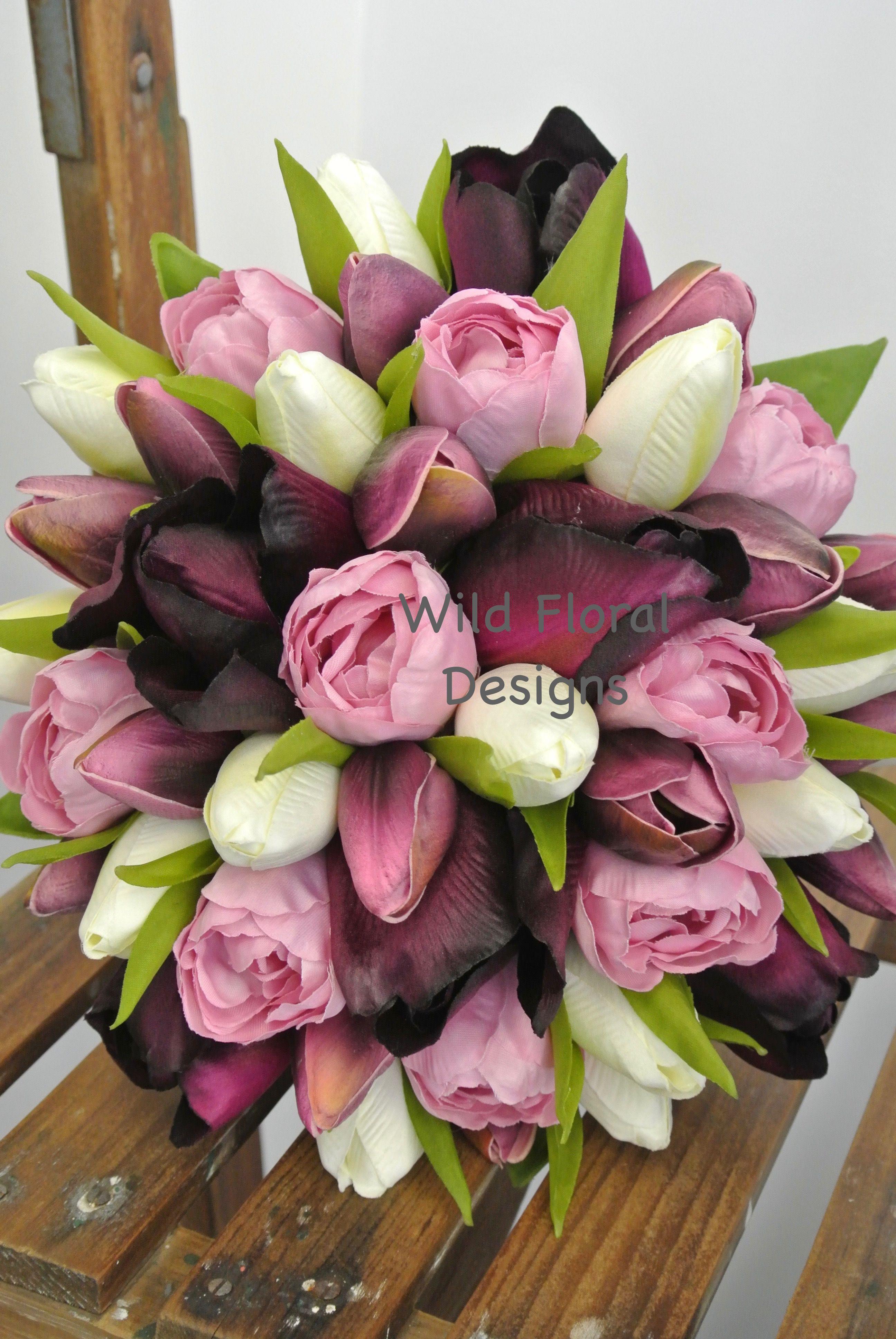 Tulip Brides Bouquet Silk Wedding Flowers UK