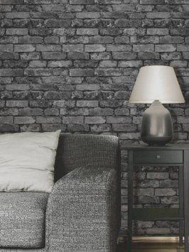 papier peint effet de brique gris noir d co salon en. Black Bedroom Furniture Sets. Home Design Ideas
