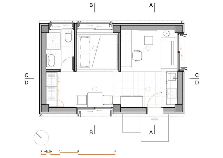 Small Apartment 30 Sqm Interior Design Floor Plan Www Pzarch Gr Small Apartments Small Apartment Interior Small Floor Plans