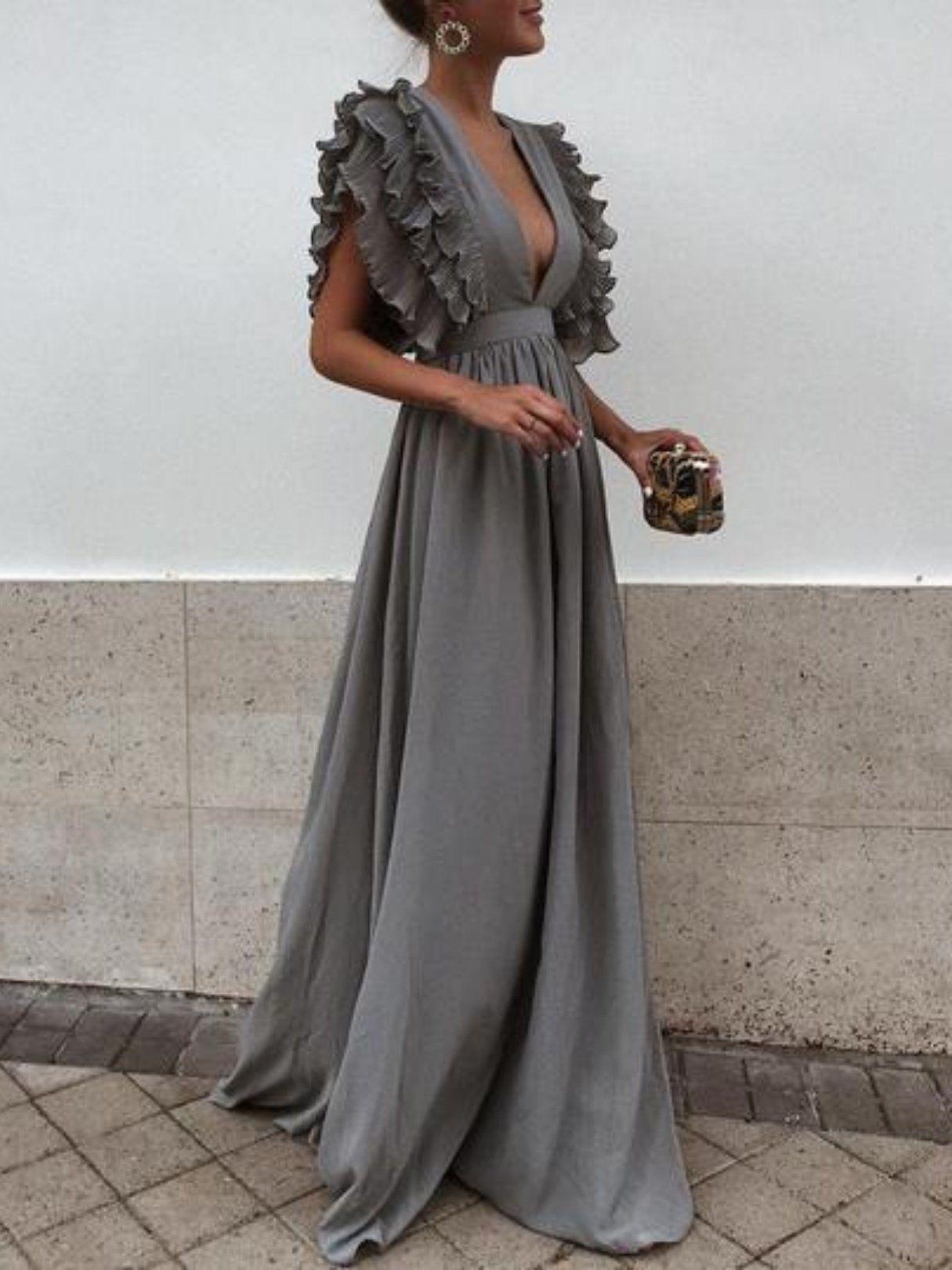 solid color deep v neck backless maxi dress dress pinterest
