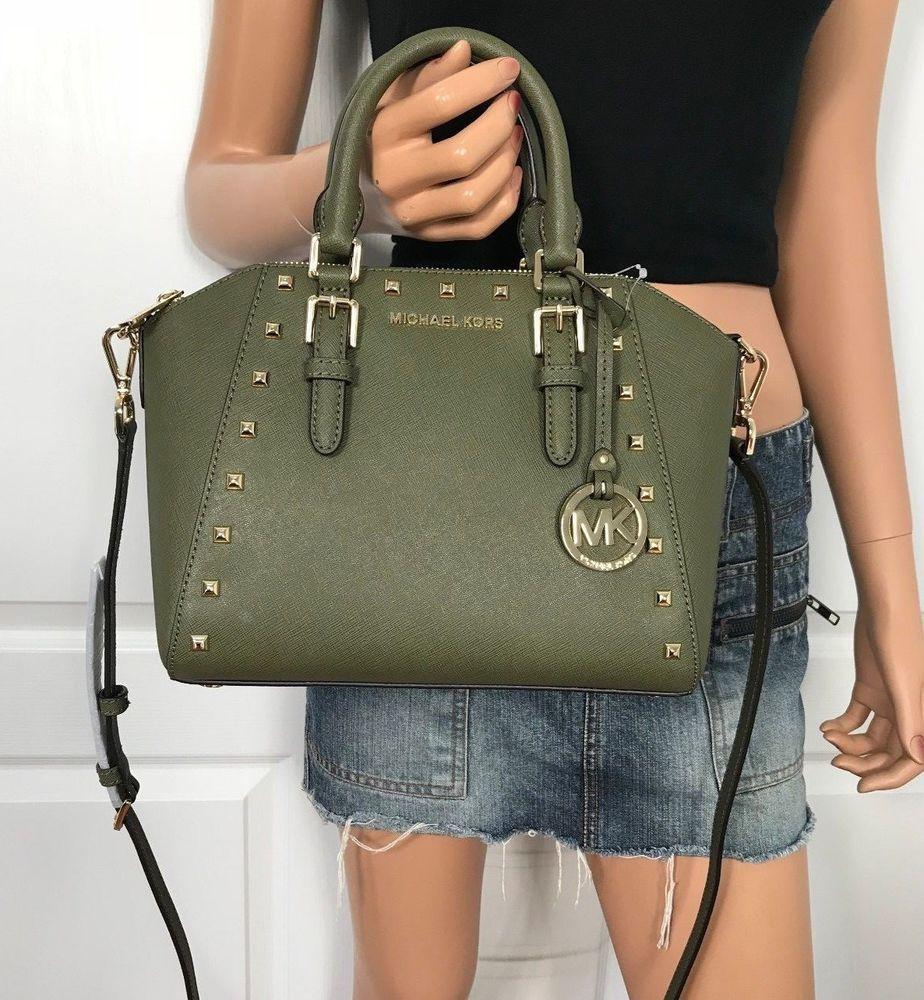 NWT Michael Kors Medium Studded Bag Olive Green Leather