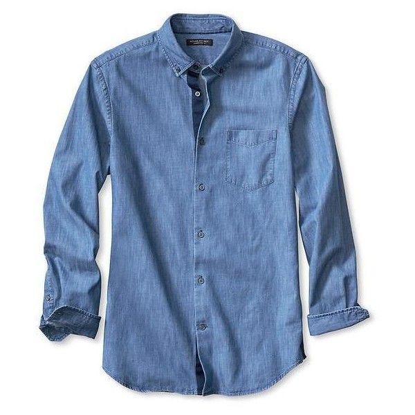 39bd63f6eb3 Banana Republic Mens Tailored Slim Fit Non Iron Denim Shirt ( 81) ❤ liked  on Polyvore featuring men s fashion