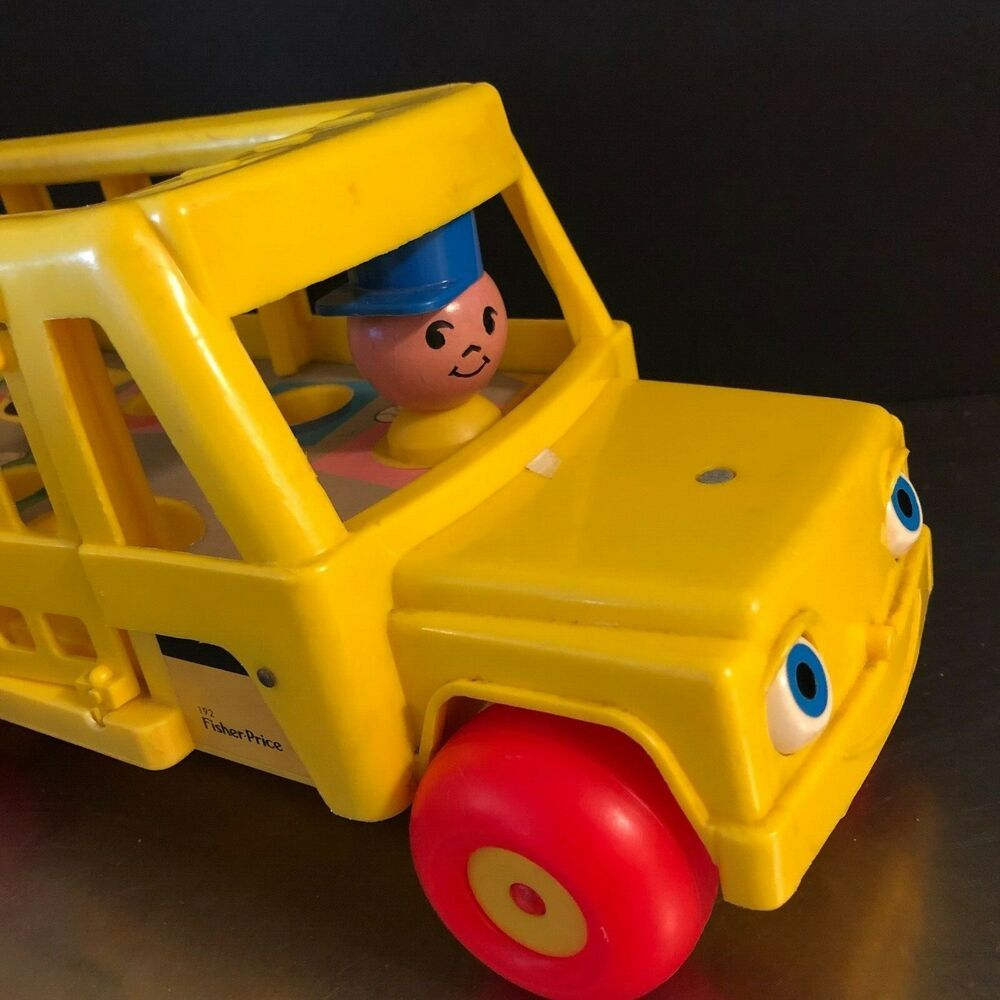 Fisher price school bus 1984 made usa blinking eyes wooden