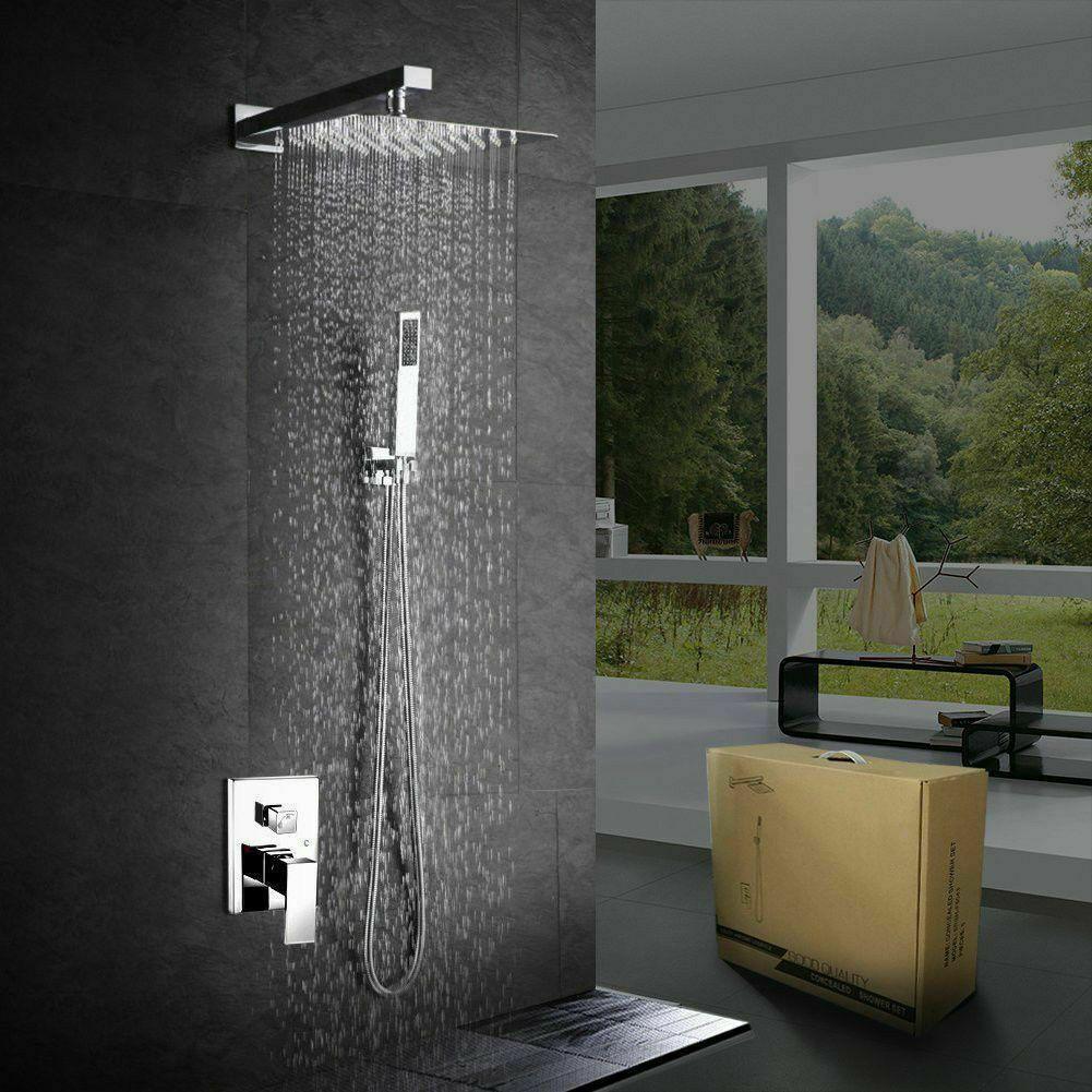 16 Inch Bathroom Luxury Rain Mixer Shower Faucet Set Wall Mount