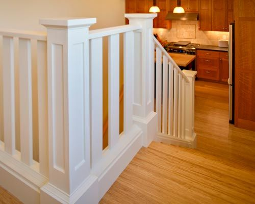 Craftsman handrail with square wood balusters and large - Interior stair railing contractors ...