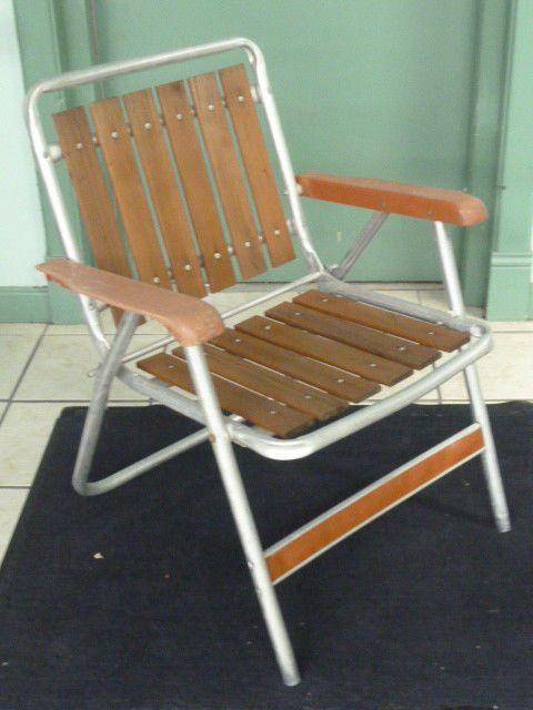 Vintage Aluminum Folding Lawn Chair Teak Wood Slats Ebay