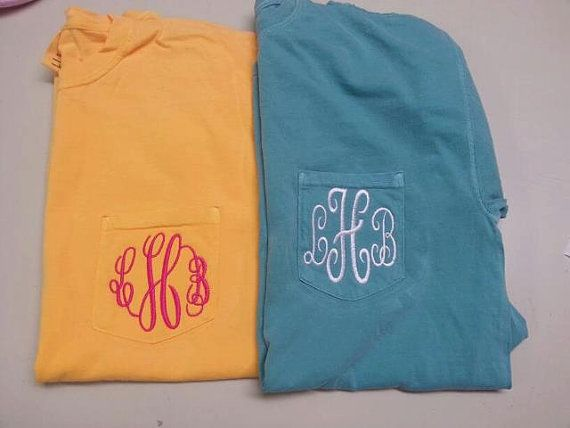 Comfort Color Pocket T-shirt embroidered initials personalized monogrammed  pocket tee shirt Greek letters college