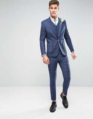 Asos Wedding Skinny Suit In Check