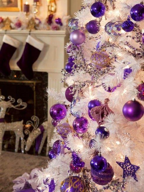 Sapin De Noel Violet Et Blanc Oh Christmas Tree Pinterest Noel