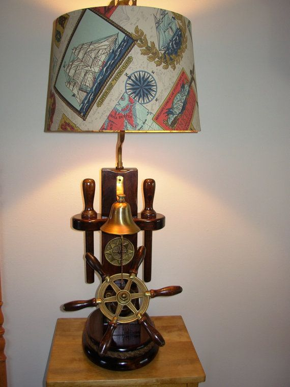 Vintage Nautical Lamp With Ship 39 S Wheel Bell Belaying Pins Nautical Lamps Lamp White Lamp Shade