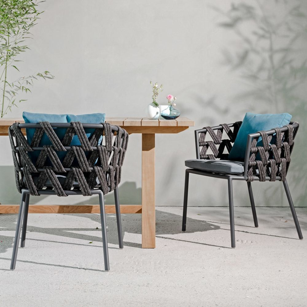 acrylic outdoor furniture. Vincent Sheppard Leo Dining Chair Lava Aluminium Acrylic Rope With Seat Back Cushions Outdoor Furniture