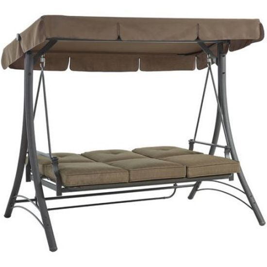 Outdoor Porch Swing With Canopy Patio Steel Furniture Convertible