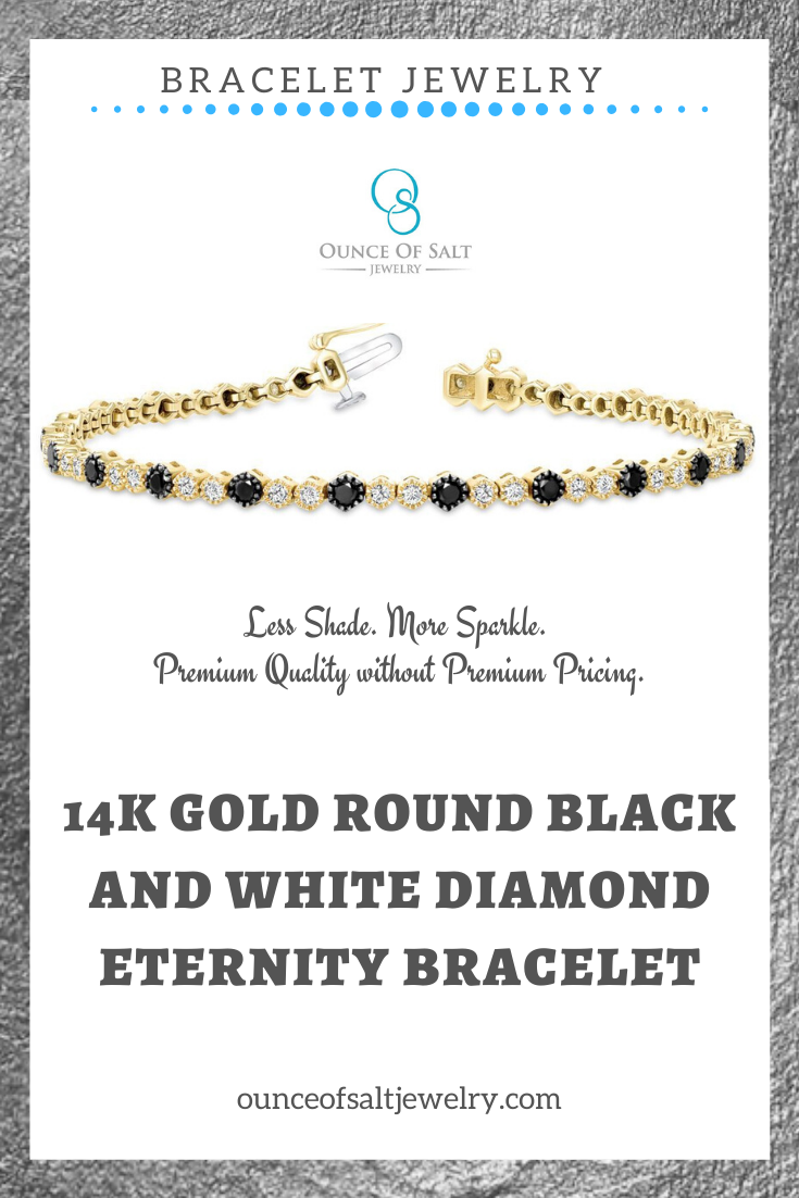 Looking for jewelry accessories and jewelry gift ideas for your loved ones for this holiday events? This eternity diamond bracelet with the bezel is classy, unique and timeless, a yellow 14K gold with round white diamonds total of .85 carats and round black diamonds total of 1.25 carats is the best gift or jewelry accent for your next event and other special occasions. You can order at #ounceofsalt #bracelet #womenjewelry #diamondbracelet #giftideas