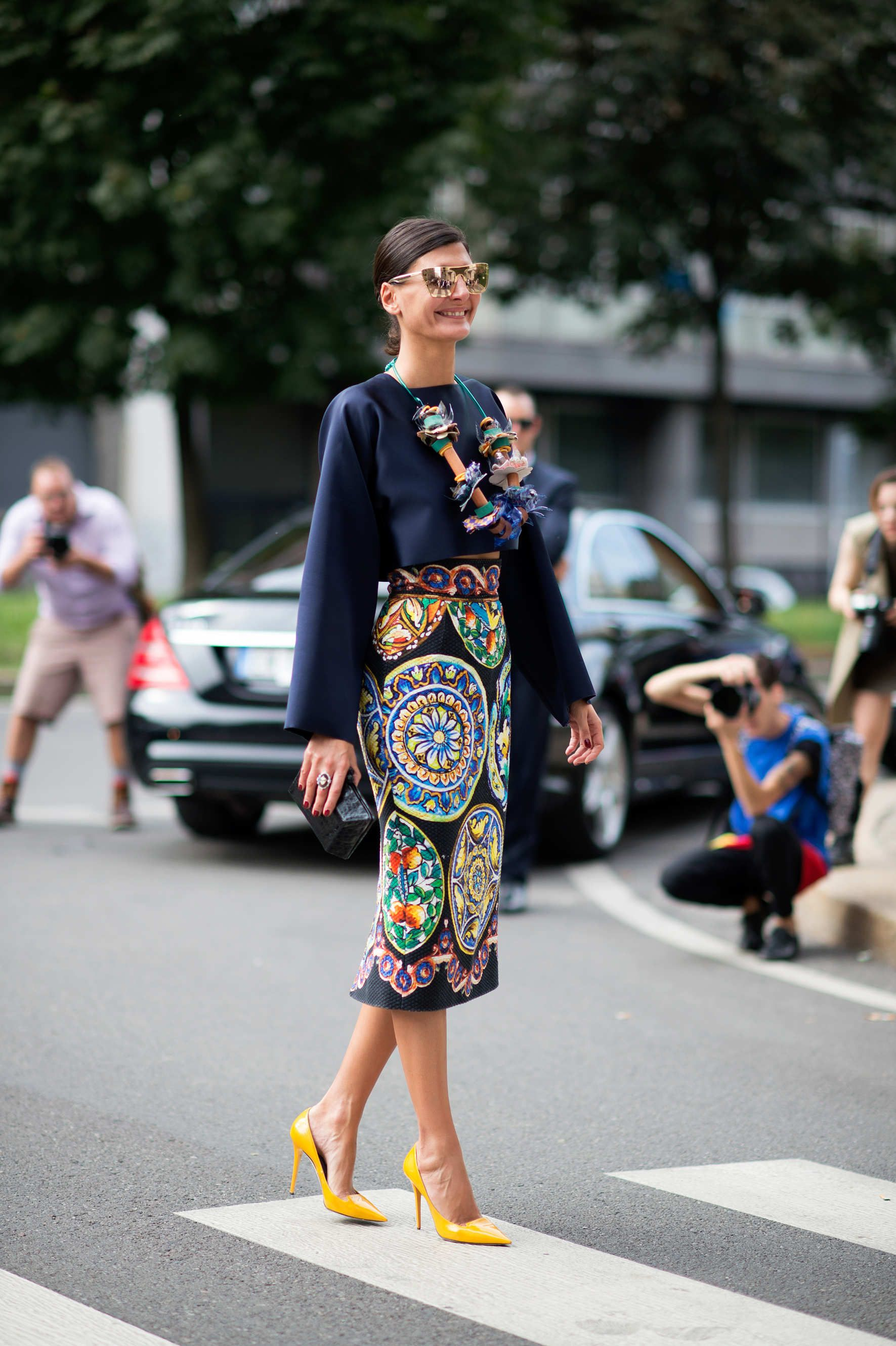 Giovanna Battaglia Look at Giovanna's crafty Marni DIY necklace. Can we please schedule a Michaels date for some scrapbooking when you're back?  Photo: I'M KOO