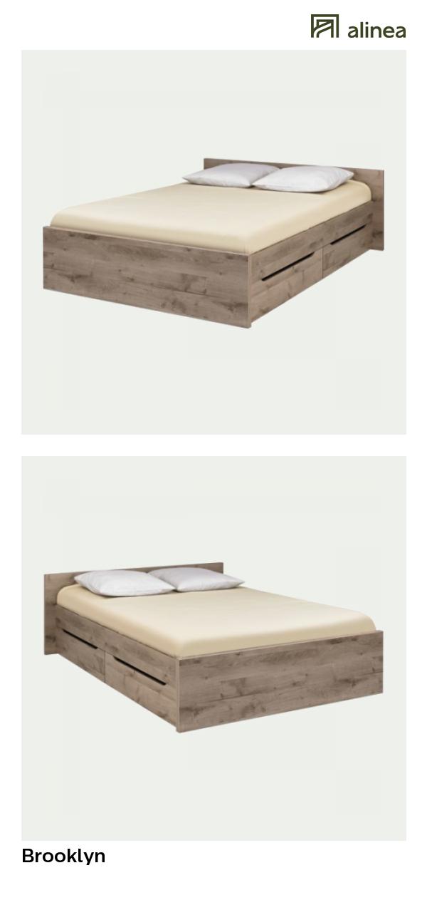 alinea : brooklyn lit 2 places finition chêne cendré avec tiroirs