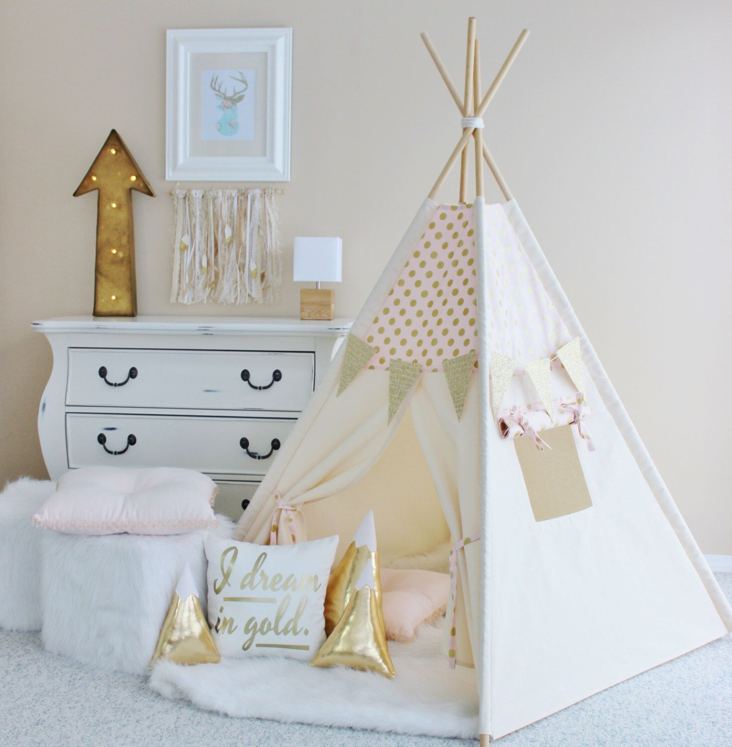 pink with gold glamour polka dot canvas teepee play tent play house nursery teepee tent. Black Bedroom Furniture Sets. Home Design Ideas