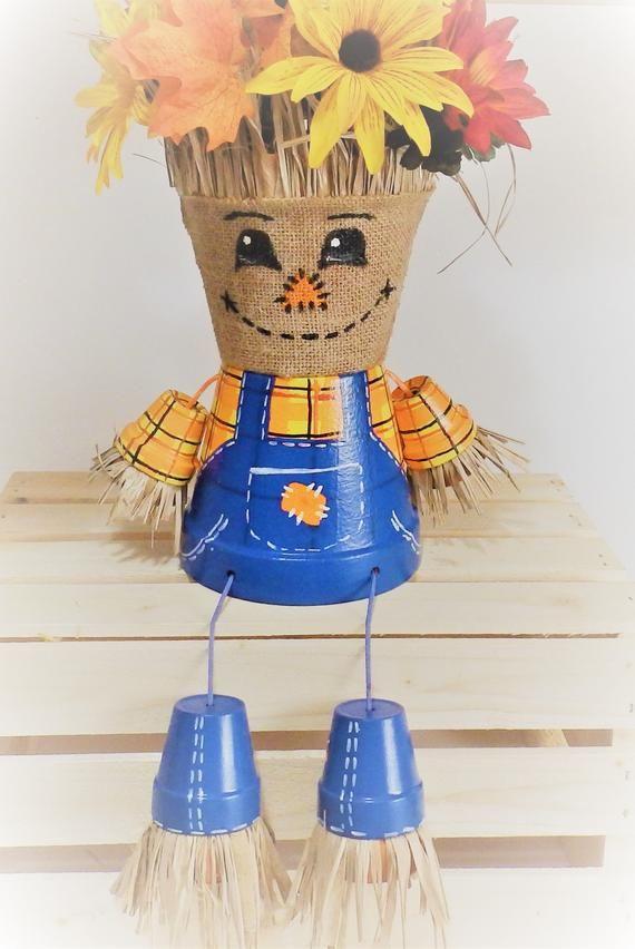 diy clay pot scarecrow Scarecrow Fall Planter Autumn Decor Flower Pot Clay Pot  Etsy