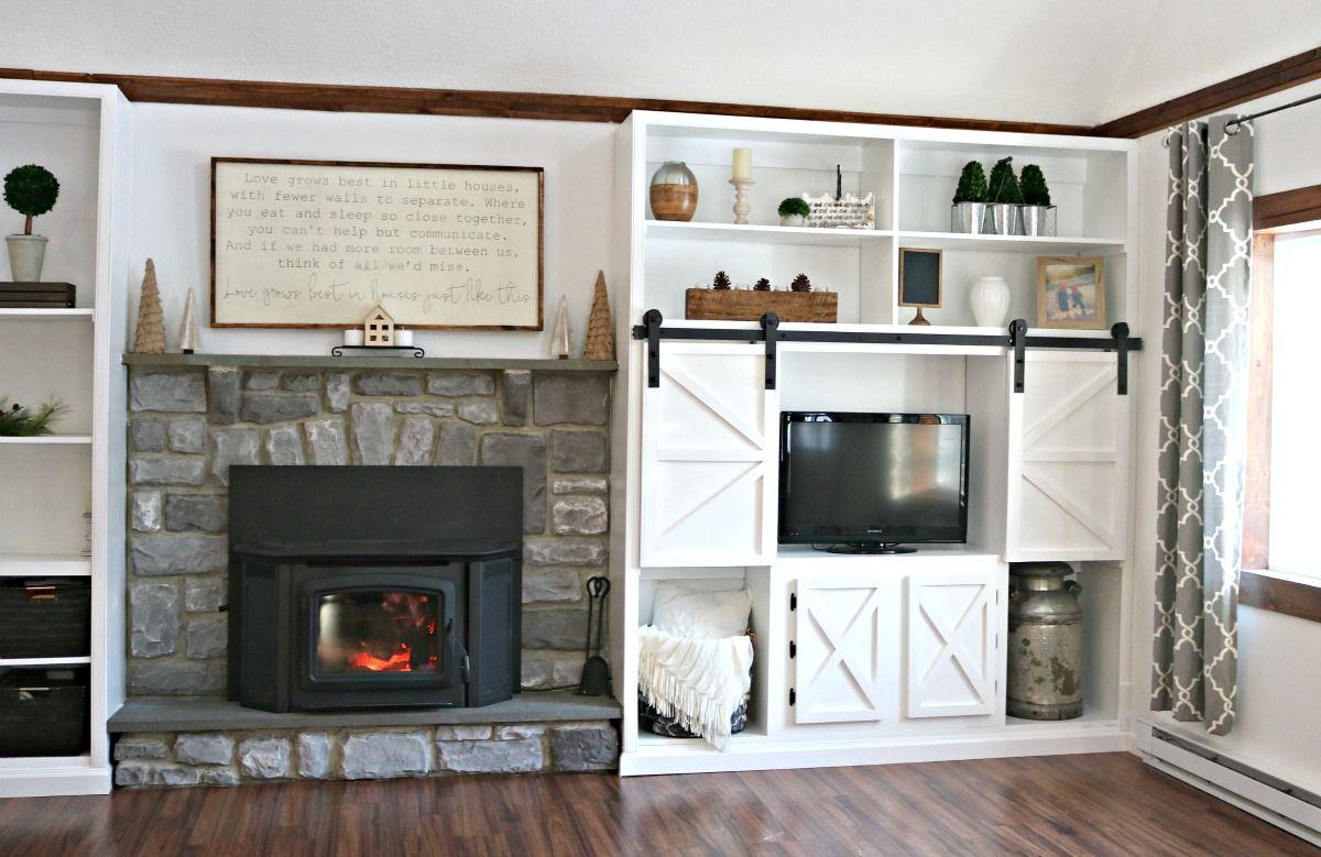 Diy farmhouse fireplace builtins fireplace built ins