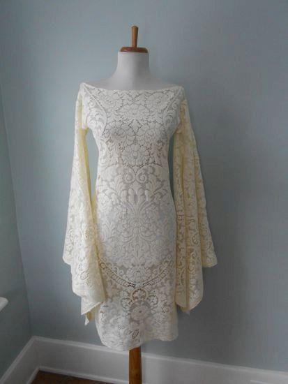 Vintage 1960s 1970s Sheer Ecru Cream Crochet LACE Angel by atomix